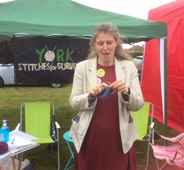 York Central MP Rachael Maskell at the Stitches for Survival stall during the 2021 Fulford Show